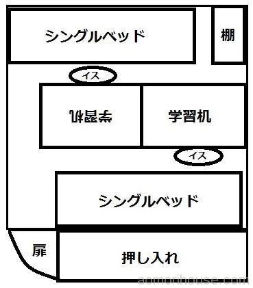 6畳子供部屋レイアウト